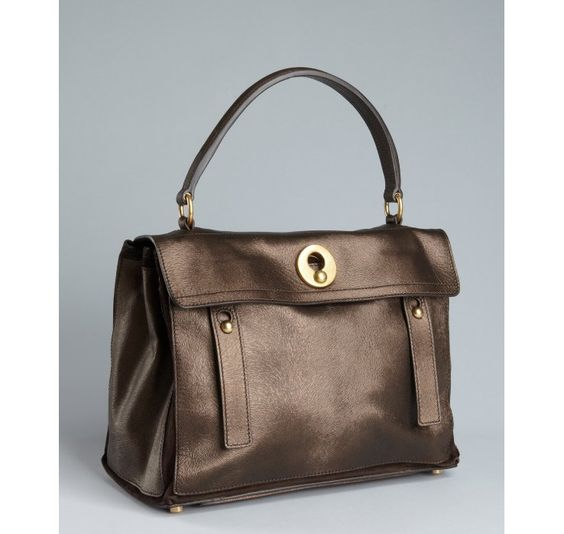 shop ysl handbags - Yves Saint Laurent chocolate pony hair embossed leather 'Muse Two ...