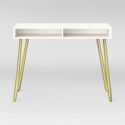 Veronica Lacquered Desk White Desk Gold White Lacquer Desk