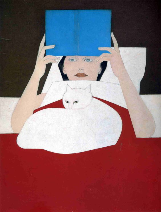 Will Barnet. 1970. Woman Reading. Reading in bed. And with your cat around. One of the best ways to read for sure.