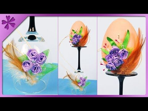 DIY How to decorate Easter basket by using kanzashi ribbon