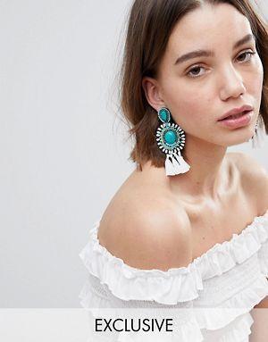 Glamorous - Boucles d'oreilles tendance à pampilles et perles - Turquoise