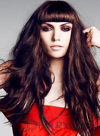 Capless Long Wavy Sepia Virgin Brazilian Hair Wig