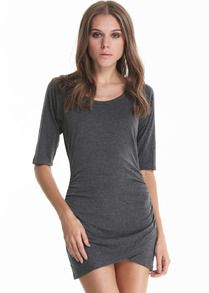 Grey Half Sleeve Ruched Wrap Front Dress