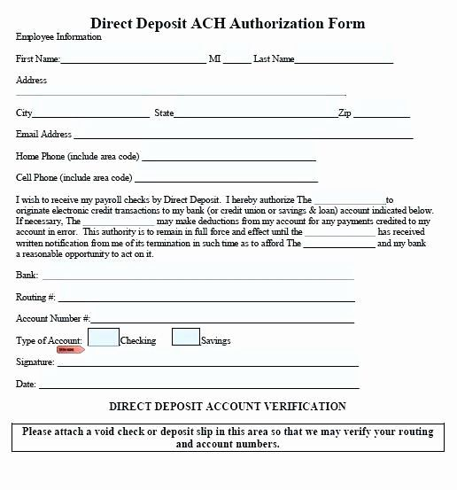 direct deposit form template  Direct Deposit Authorization form Template Unique Ach ...