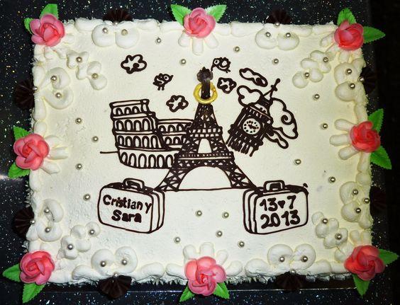 Crear para Endulzar: Rome, Paris, London Marriage Cake