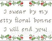 Pretty Floral Bonnet (floral) - Quotes - Floral Framed - Cross-Stitch Pattern - INSTANT DOWNLOAD