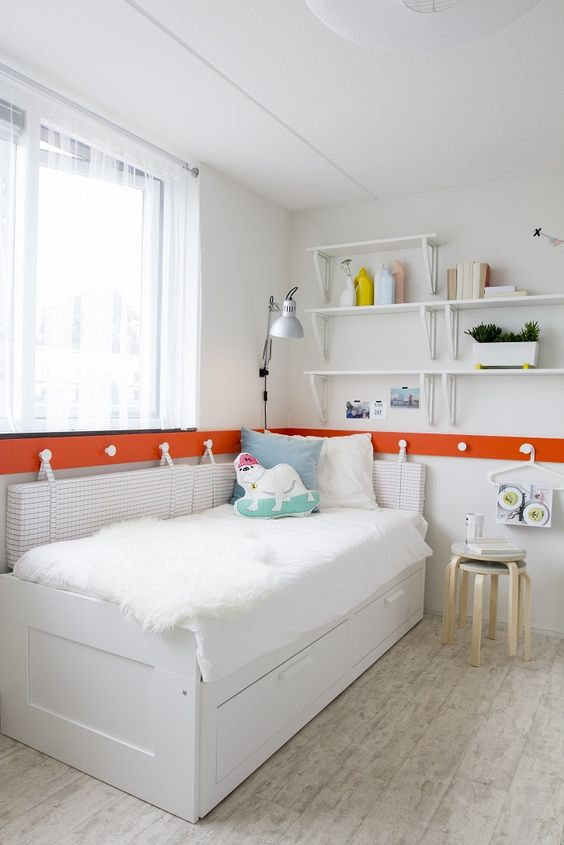 brimnes bedbank met 2 lades, wit | chlapci, produkty a postele, Deco ideeën