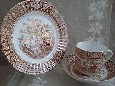 Trío de té de la vendimia de Brown / dorado: S. Radford.  Inglés Bone China.  Urna con las flores