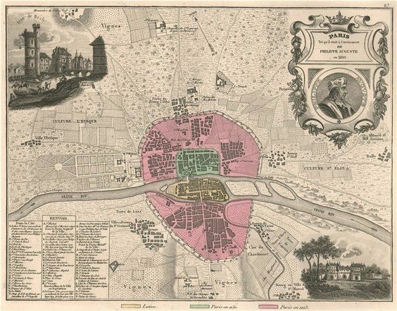 MEDIEVAL PARIS 1180 Hotel de Vauvert Tour de Nesle VUILLEMIN – Map of Paris with Hotels