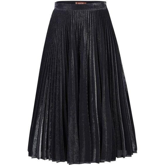 Jolie Moi Metallic Pleated A-Line Skirt , Black (€53) ❤ liked on ...