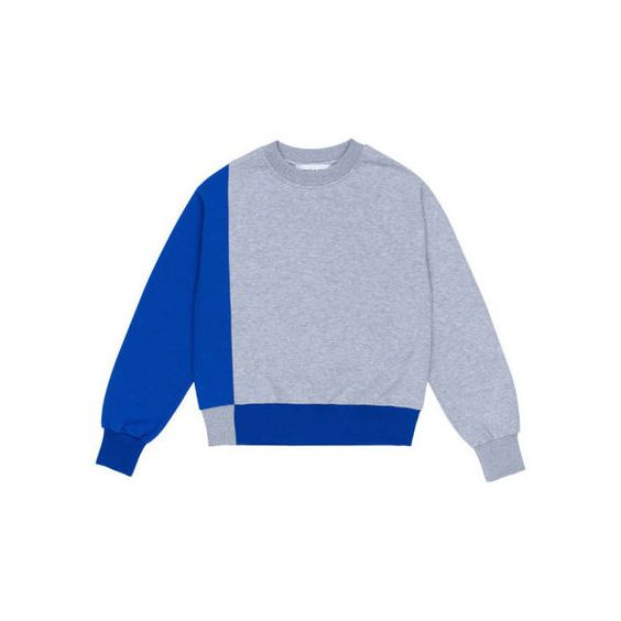RocketxLunch Blue and Grey Graphic Sweatshirt ($89) ❤ liked on Polyvore featuring tops, hoodies, sweatshirts, oversized sweatshirt, graphic sweatshirts, gray sweatshirt, grey sweatshirt and oversized grey sweatshirt