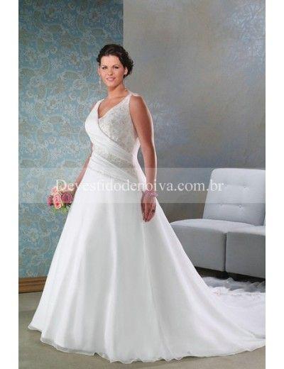 Venda quente Sasa Decote em V Linha-A Vestidos Noiva tamanho Grande