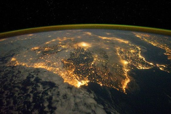 night lights of the Iberian Peninsula (Spain, Portugal), and some of the North African coast (Morocco, Algeria). You can clearly see the bright lights of Lisbon and Madrid. (This is the kind of photo that Chris Cassidy took from the ISS's Cupola).