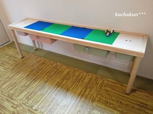 Legoプレイテーブル自作diy レゴ専用台をじーじに作ってもらいました Kuchakunのブログ 注文住宅と大切な家族と育児記録 プレイテーブル 子供部屋 収納 カラーボックス 保育園収納