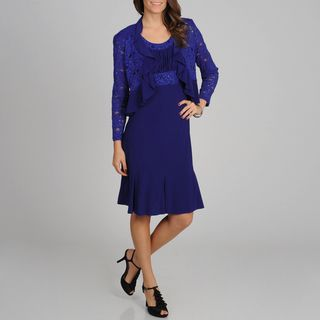@Overstock - Make a stunning entrance in this beautiful jacket and dress set from R Richards. The sleeveless dress has sequin details on the neck and waist, a rouched bust and a flounce hem. The ruffle trimmed sequin jacket has shoulder pads and a perfect fit.http://www.overstock.com/Clothing-Shoes/R-M-Richards-Womens-Royal-Lace-and-Ruffled-Detailed-Dress-and-Jacket-Set/7753166/product.html?CID=214117 $76.99