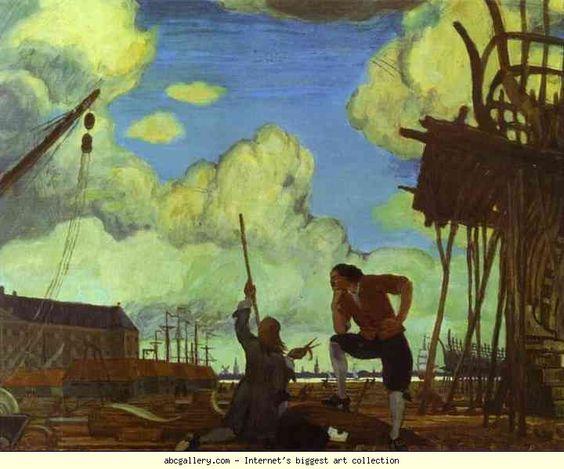 Mstislav Dobuzhinsky.  Pedro el Grande en Holanda.  Ámsterdam, el Muelle de la East India Company.