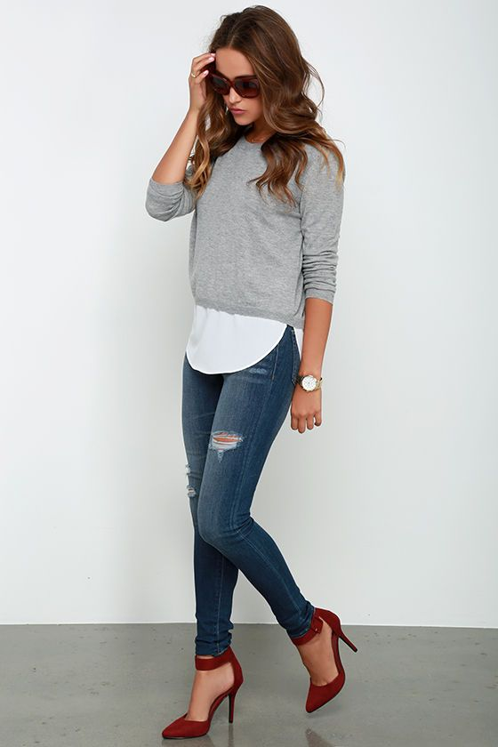 Made My Day Grey Sweater Top Cute Outfit Women 39 S Fashion Style Jeans Denim Fashion