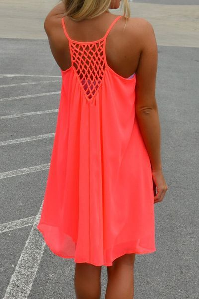 Stylish Spaghetti Strap Solid Color Hollow Out Chiffon Dress For Women