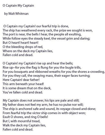 o captain my captain   walt whitman while studying lincoln    s    o captain my captain   walt whitman while studying lincoln    s assassination