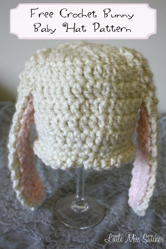 Baby Bunny Crochet Hat FREE Pattern from Little Miss Stitcher | Hats ...