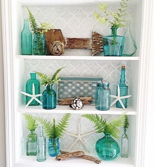 Oceanic Light Aqua Blue Sea Green Glass Vases Beach House