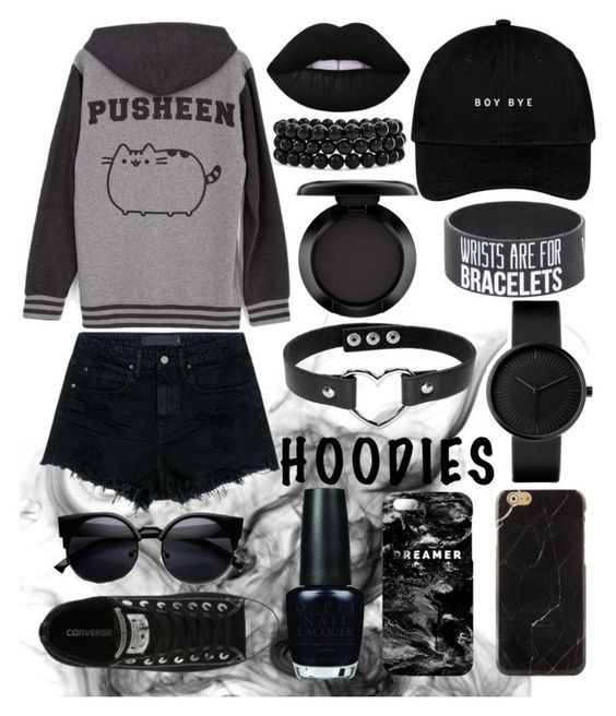"""""""pusheen hoody"""" by sirean ❤ liked on Polyvore featuring Alexander Wang, Pusheen, Converse, Lime Crime, OPI, Mr. Gugu & Miss Go, Bling Jewelry and MAC Cosmetics"""