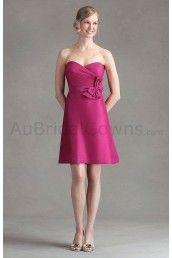 Shangtung Strapless Criss-cross Sweetheart A-line Bridesmaid Dress
