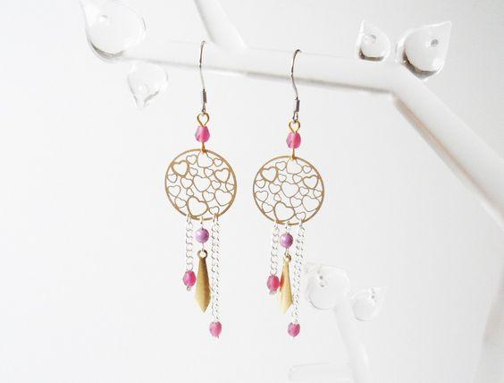 Boucles d'oreilles coeurs doré argenté fuchsia améthyste violet rose gouttes…