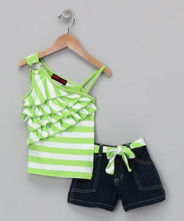 Take a look at this Lime Stripe Asymmetrical Top & Shorts - Infant & Toddler by Dollhouse on #zulily today!