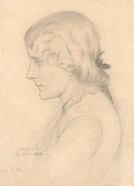 RETRATO DE ANNIE MILLER DE BOYCE. Holman Hunt la descubrió como camarera en un barucho de Chelsea. Viajó a Tierra Santa y la dejó con instrucciones de no posar para nada para ningun pintor en especial Rossetti pues queria casarse con ella. Pero ella posó para  Boyce. Hunt luego rompió el compromiso. Lizzie la esposa de Rossetti, en un ataque de celos tiró todos los dibujos de Anne por la ventana