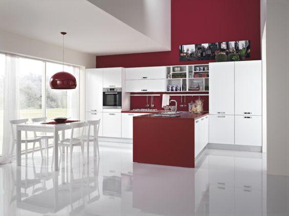 """Cucina lineare finitura bianco """"seta"""" con penisola centrale rovere ..."""