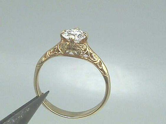 18K Art Nouveau Edwardian Filigree Engagement Ring by jewelry1910 Jewelry