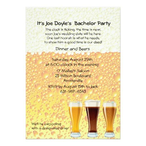 """beer cheers bachelor party invitation """" x """" invitation card, invitation samples"""