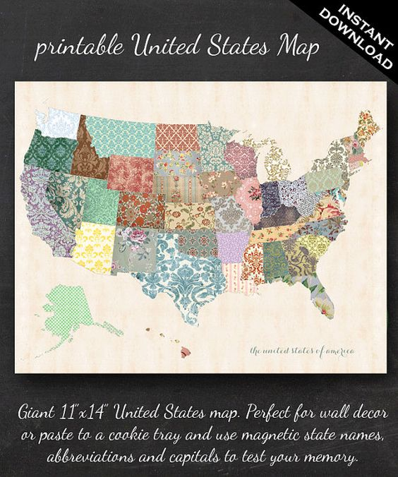 Geography Classroom Decor : Printable united states map quot shabby chic pdf