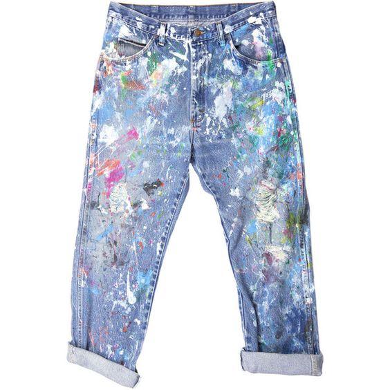Rialto Jean Project Splatter Boyfriend Jeans featuring polyvore, fashion, clothing, jeans, pants, bottoms, trousers, blue jeans, boyfriend jeans and boyfriend fit jeans