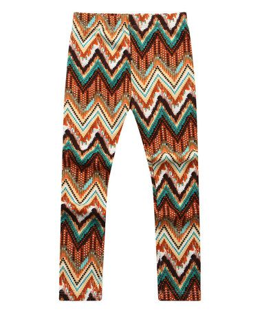 Another great find on #zulily! Brown Zigzag Leggings - Infant, Toddler & Girls by Richie House #zulilyfinds