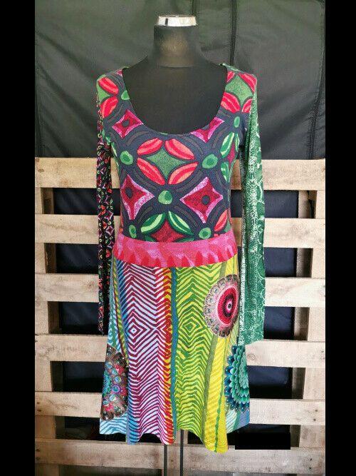 Damen Kleid Desigual Gr L Mehrfarbig Bunt Glitzersteine Klasse Zustand Ebay Kleidung Kleider Glitzersteine