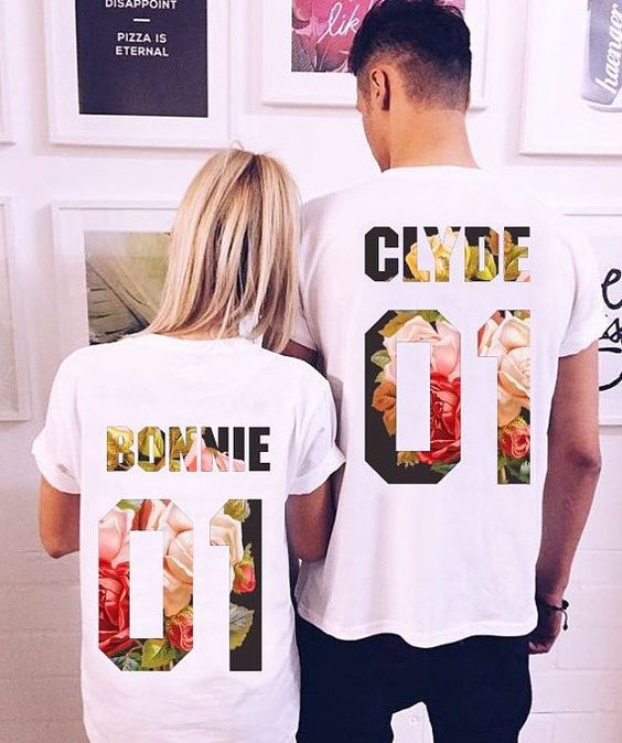 """Couple T-shirts set """"Bonnie and Clyde"""" set of 2 couple T-shirts Bonnie Clyde Tshirt Custom Shirts with Custom Numbers"""