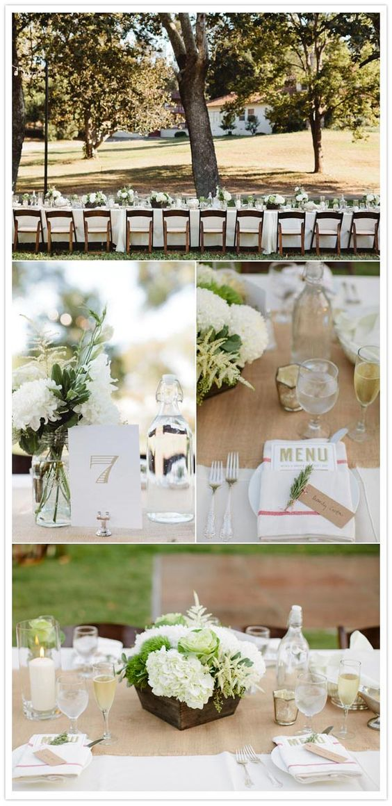 Tables long tables and simple on pinterest for Simple wedding reception table decorations