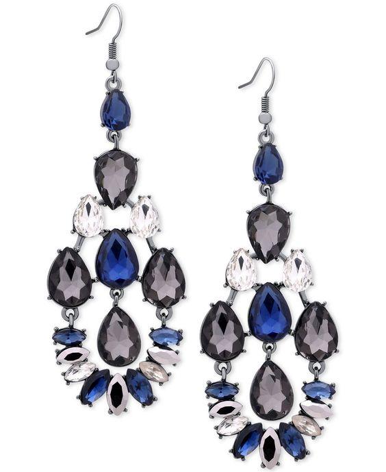 Guess Hematite-Tone Blue Crystal Drop Earrings