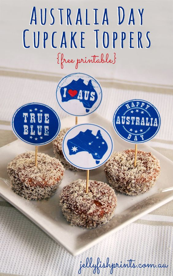 Australia Day cupcake toppers free printables to decorate your – Australia Day Party Invitations
