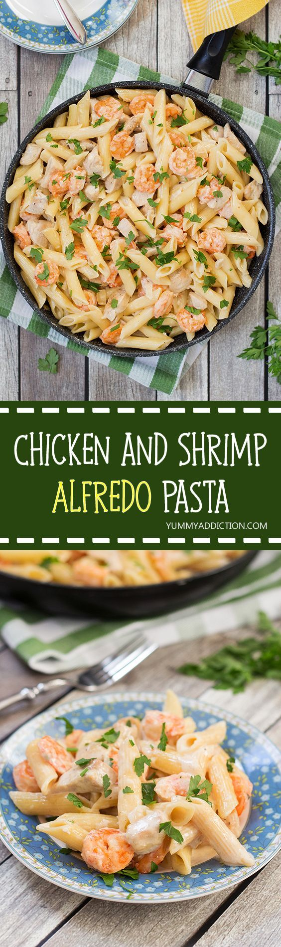 This Chicken and Shrimp Alfredo Pasta is creamy, hearty and filling. Comfort food at its best!   yummyaddiction.com