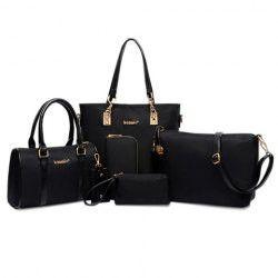 Elegant Style Solid Color and Metal Logo Design Women's Shoulder Bag