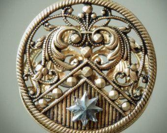 Large Antique Art Nouveau Openwork Cut Steel Brass Picture Button