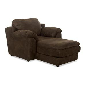 Klaussner furniture reststop chaise lounge chocolate for Big comfy chaise lounge