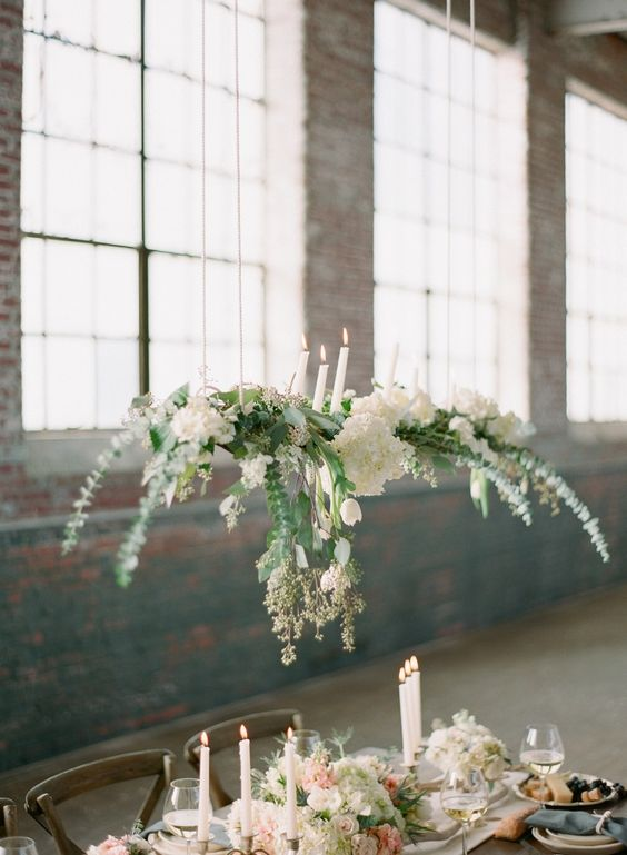 greenery & flower + candle chandelier for intimate wedding