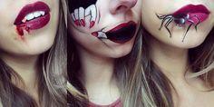 maquillage Halloween femme 2016 - bouche dessinée et ornée de doigts et araignée