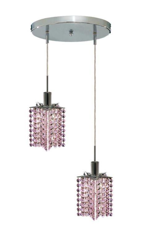 Elegant Lighting 1282D-R-P-RO Mini 2-Light Crystal Pendant Finished in Chrome w Royal Cut Rosaline Pink Crystal Indoor Lighting Pendants Multi Light