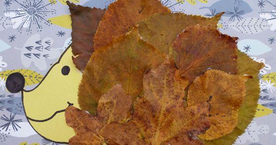 Autumn crafts for kids - leafy hedgehog