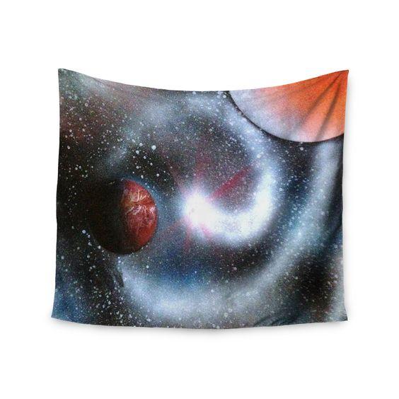 "Infinite Spray Art ""Starburst"" Black Red Galaxy Wall Tapestry"